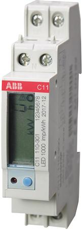 ABB Energiemeter C serie C11 IEC Type 1000 imp/kWh 1x230Vac, 40A, 1xS0 pulse of alarm, (CL.1)