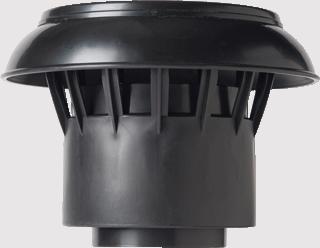 Anjo Vent-Alu losse kap voor platdak ontluchting. Materiaal PP. Aansluiting: 110-125mm. Zwart.