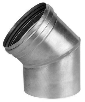 Aluminium enkelwandig rookgas, segmentbocht, 45graden L= 47-97mm bocht, 130x130mm
