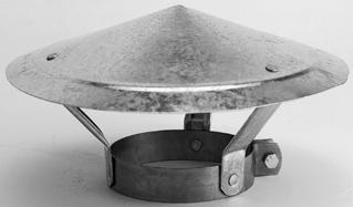 Burgerhout gegalvaniseerde regenkap 125 - 131 mm