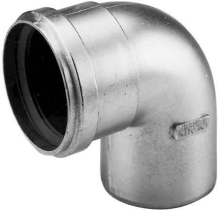 Aluminium enkelwandig rookgas, segmentbocht, 90graden L= 123-173mm bocht, 130x130mm