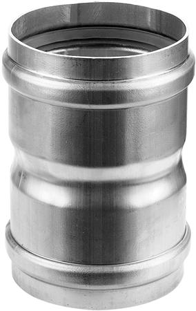 Aluminium enkelwandig rookgas, L= 25mm koppelstuk, 100x100mm