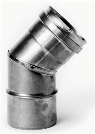 Burgerhout RVS enkelwandig rookgas, segmentbocht, 43graden L= 30-80mm bocht, 80x80mm