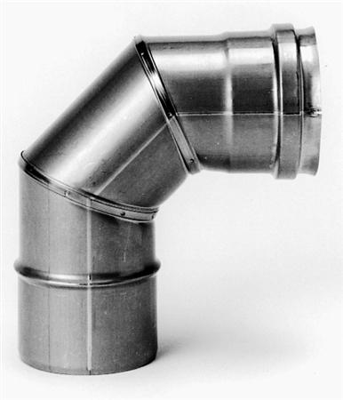 Burgerhout RVS enkelwandig rookgas, segmentbocht, 87graden L= 75-130mm bocht, 80x80mm