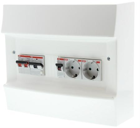 ABB Verdeler PV-omvormer 2x combimaat 16A/0,03 + 2 WCD achter hoofdschakelaar 40A