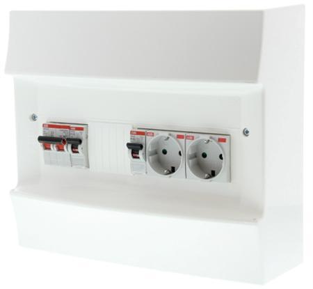 ABB Installatiekast ZV verdeler PV-omvormer 1x installatieautomaat B16A 1x combimaat 16A/0,03 + 2 WCD achter hoofdschakelaar 40A