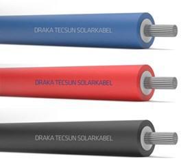 Draka TECSUN H1Z2Z2-K 1x4mm2 installatiekabel, soepel, HEPR, kleurcodes, dia. 5.6mm, mantel rubber (EVA), HV, rood, haspel 500m