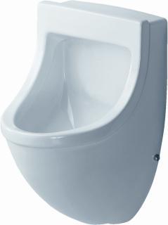 Duravit Starck 3 keramisch urinoir. Afmeting: 575x330x350mm. Inlaat: achter, uitlaat: onder, wit