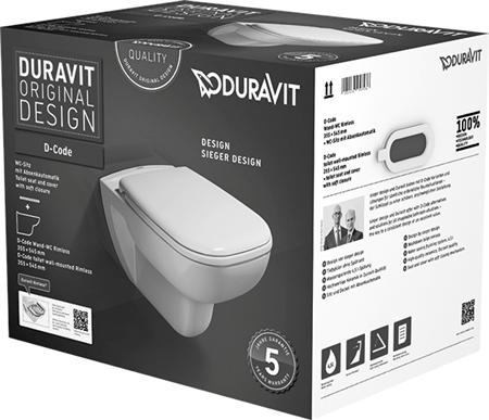 Duravit D-Code Pack: rimless wandwc met softclose zitting, afmeting 54,5cm, design by Sieger Design, wit.