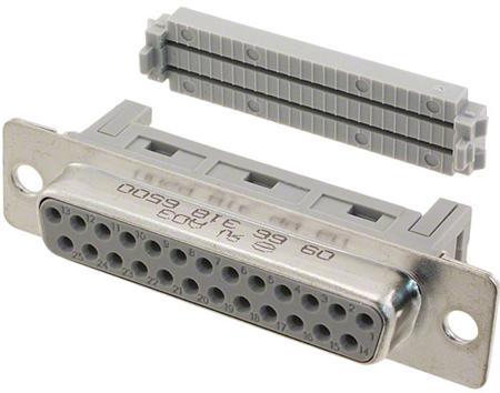 D-Sub connector DIN41652, CECC75301-802, IEC60807 - female - perform. level 2 - flatcable - 25P.