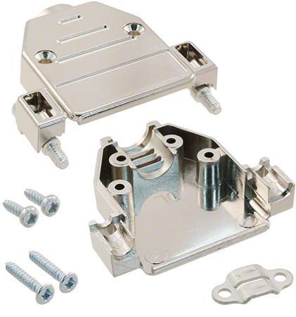 Stekerhuis topinvoer voor 15-polige D-Sub connector - gem. kunststof - korte blokkeerschr. UNC draad.
