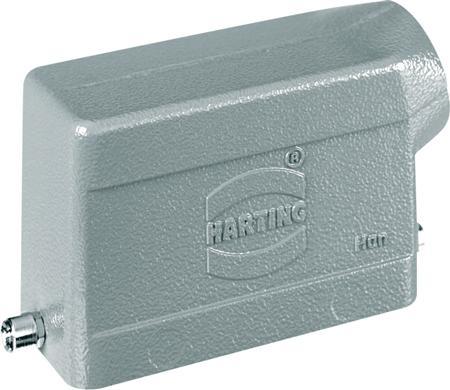 Harting, stekerhuis zij-invoer met 2 nokken - 1 x PG21 - lage bouwvorm - gegoten aluminium - grootte 16B - Han-B