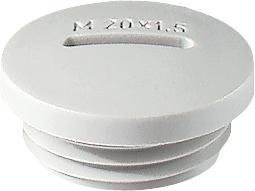 Jacob blindstop, M12 x 1,5mm, polyamide (PA), lichtgrijs, RAL 7035