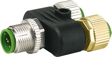 Murr T-coupler M12-male 5p. / 2x M12-female 4p. Replaced Art.-No. 13880