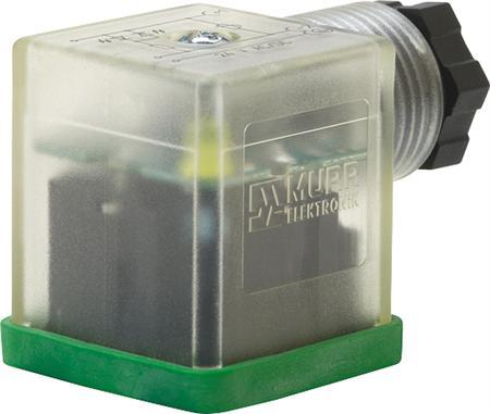 Murr SVS Eco LED steker model A 18mm LED+VDR 24V 2+PE field-wireable M16x1,5, 2p+e 24V LED en VDR stekerkap, met afdichting