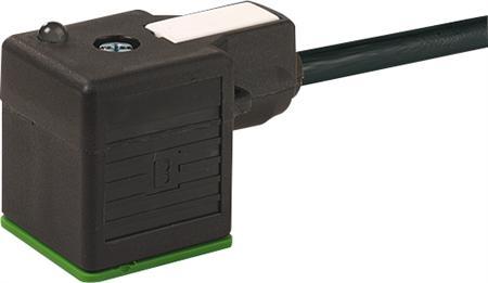 Murr MSUD ventielsteker model A met kabel PVC-JZ 3x0,75 mm2, zwart, lengte 10m