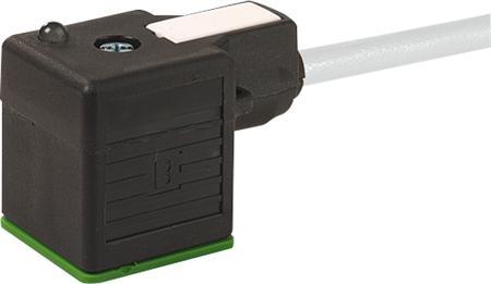 Murr MSUD ventiel vorm A 18mm met kabel PVC-JZ 3x0,75 grijs 10m, 2p+e LED + demping, geïntegreerde afdichting