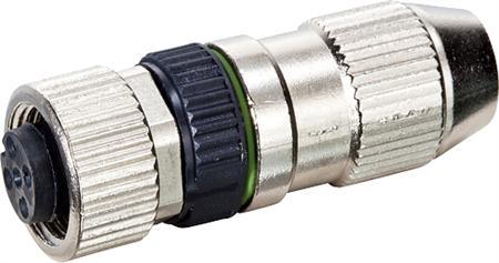 Murr MOSA M12 female recht field-wireable (IDC) Slimline, 4p, 0,14-0,34qmm