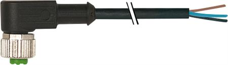 Murr M12 female connector 90° met kabel PUR/PVC-OB 4x0,34 zwart 5m