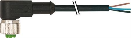 Murr M12 female connector 90° met kabel PVC-OB 4x0,34 zwart 15m