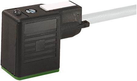 Murr MSUD ventiel vorm B 10mm met kabel PUR-JZ 3x0,75 grijs 5m, 2p+e LED en demping, geïntegreerde afdichting