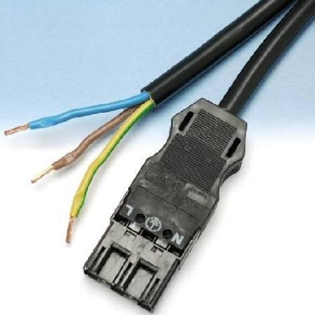 Wago WINSTA, H05VV-F, 3Px1.5mm2, male / vrij kabeluiteinde, 250V 16A, L= 3000mm, L, N, PE, IP20, wit