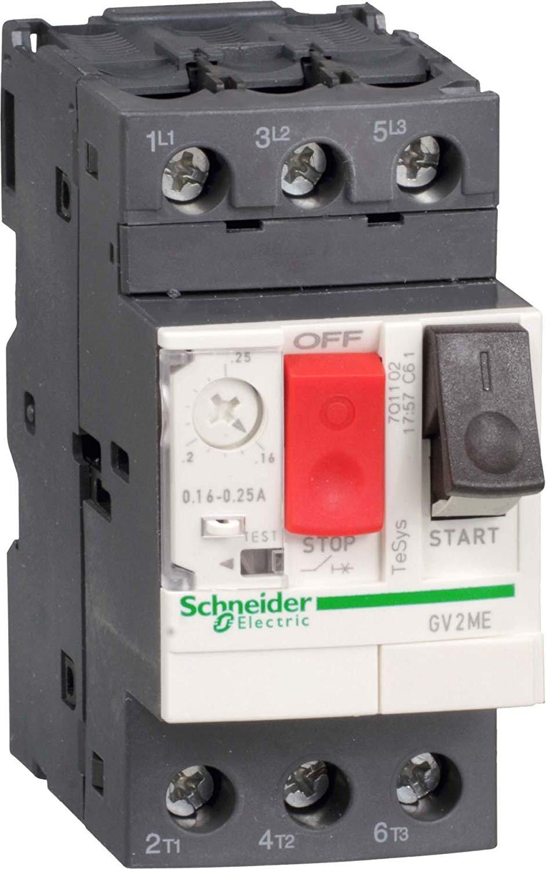 Schneider Tesys GV2 motorbeveiligingsschakelaar, thermomagnetisch, 3-polig, 2.2kW, 4A, 690V, 100kA, druktoets, grootverpakking 24 st