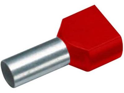 Cimco tweeling-adereindhuls, 1mm2, hulslengte 10mm, geïsoleerd, koper, vertind, PP, rood, AWG16