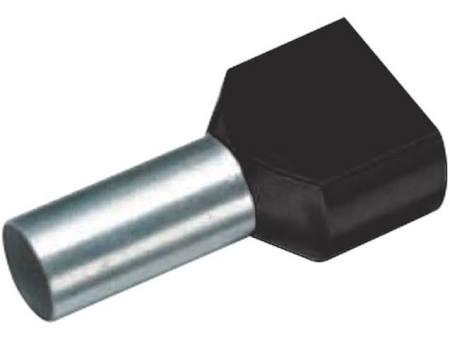 Cimco tweeling-adereindhuls, 1.5mm2, hulslengte 8mm, geïsoleerd, koper, vertind, PP, zwart