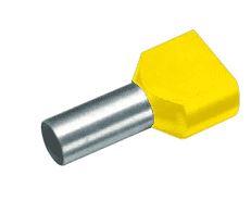Cimco tweeling-adereindhuls, 6mm2, hulslengte 14mm, geïsoleerd, koper, vertind, PP, geel, AWG10