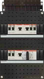 ABB HAF Installatiekast 330x220mm, 6-groepen 3-fase, 3xALS, HS 40A 4-polig