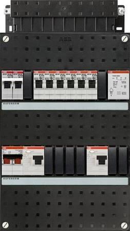 ABB HAF Installatiekast 330x220mm, 6-groepen 1-fase, 2xALS, HS 40A 2-polig, kookgroep 1-fase, met beltrafo