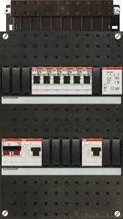 ABB HAF Installatiekast 330x220mm, 6-groepen 1-fase, 2xALS, HS 40A 2-polig, met beltrafo