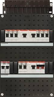ABB HAF Installatiekast 330x220mm, 8-groepen 1-fase, 3xALS, HS 40A 2-polig, kookgroep 1-fase