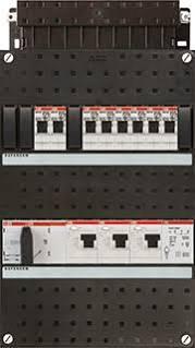 ABB HAF Installatiekast 330x220mm, 8-groepen 3-fase, 3xALS, HS 40A 4-polig, met beltrafo