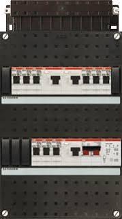 ABB HAF Installatiekast 330x220mm, 9-groepen 1-fase, 3xALS, HS 40A 2-polig, met beltrafo