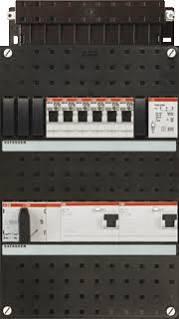 ABB HAF Installatiekast 330x220mm, 6-groepen 3-fase, 2xALS, HS 40A 4-polig, met beltrafo