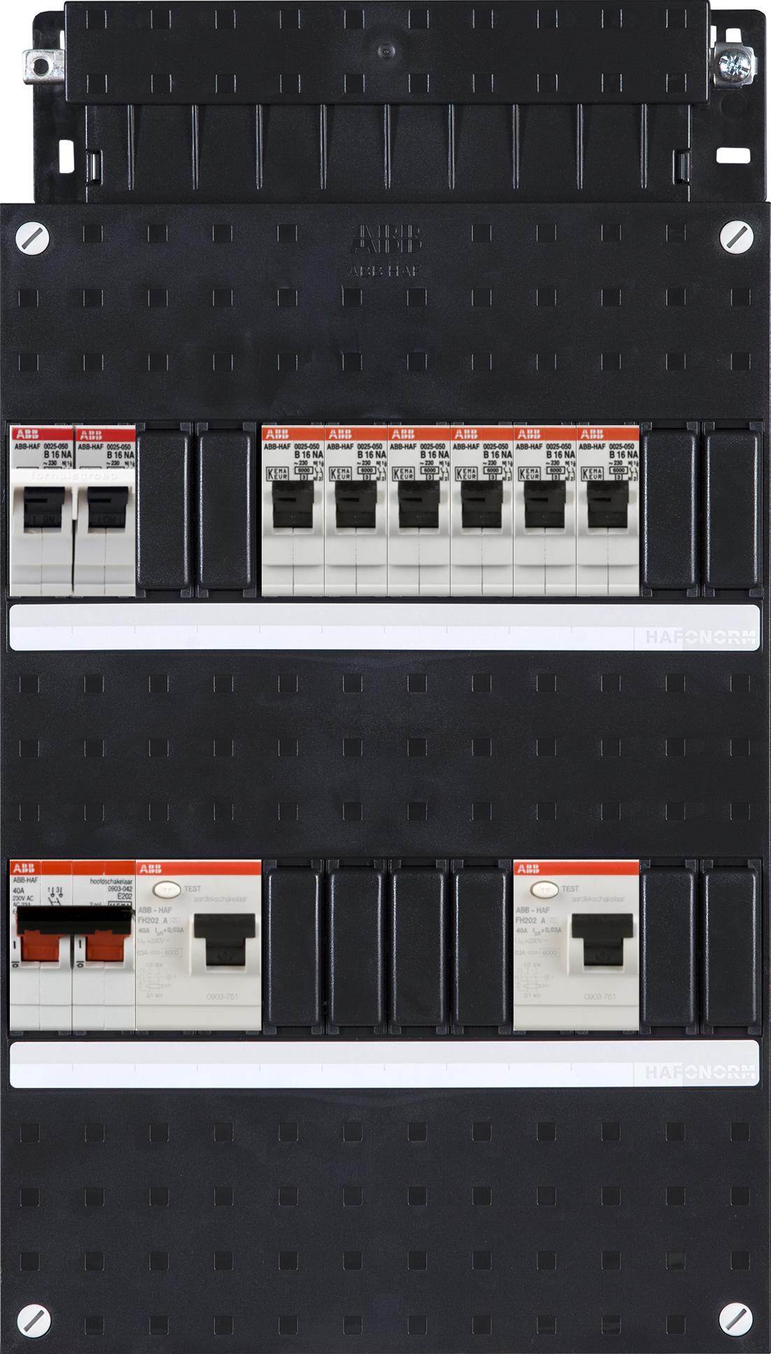 ABB HAF Installatiekast 330x220mm, 6-groepen 1-fase, 2xALS, HS 40A 2-polig, kookgroep 1-fase