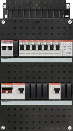 ABB HAF Installatiekast 330x220mm, 7-groepen 1-fase, 2xALS, HS 40A 2-polig, kookgroep 1-fase, met beltrafo