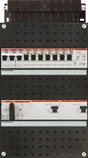 ABB HAF Installatiekast 330x220mm, 8-groepen 3-fase, 2xALS, HS 40A 4-polig, kookgroep 3-fase, met beltrafo