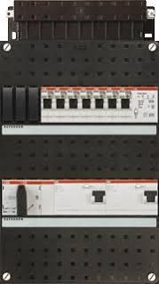 ABB HAF Installatiekast 330x220mm, 7-groepen 3-fase, 2xALS, HS 40A 4-polig, met beltrafo