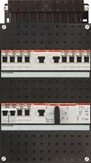 ABB HAF Installatiekast 330x220mm, 10-groepen 3-fase, 3xALS, HS 40A 4-polig, kookgroep 1-fase, met beltrafo