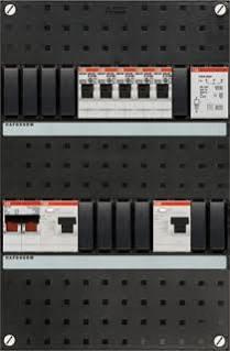 ABB HAF Installatiekast 330x220mm, 5-groepen 1-fase, 2xALS, HS 40A 2-polig, met beltrafo