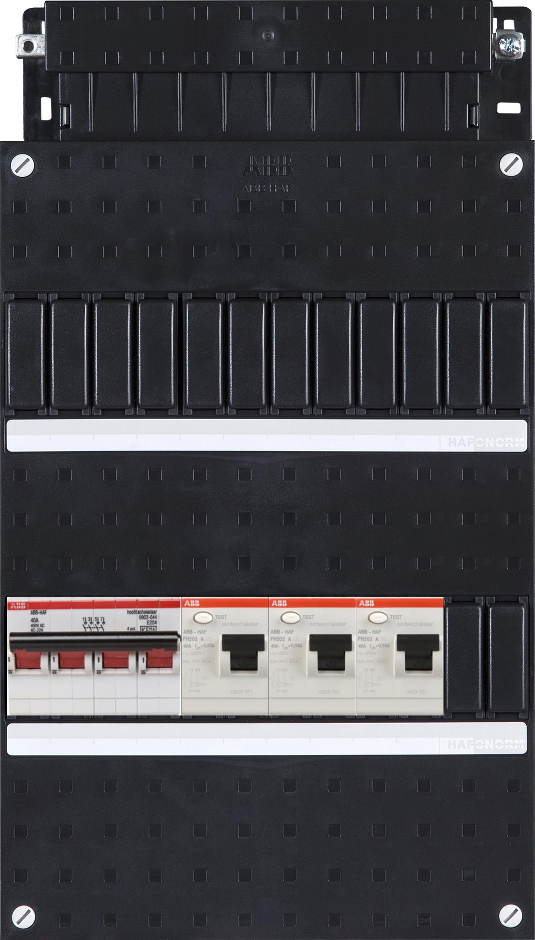 ABB HAF Installatiekast 3x 30mA + HS 3-fasen, 3-fasen BKH HAD303030-222+H44
