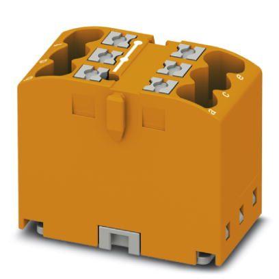 Phoenix Contact verdelerblok, basisklem, Push-in-aansluiting, 2x, 0,14-4mm², AWG 26-12, bxh 15,6-21,2mm, oranje, montagerailadapter