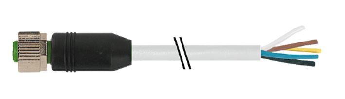 Murr M12 female recht met kabel PUR-OB 8x0,25 grijs 10m