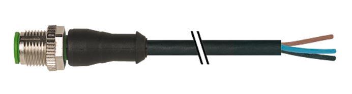 Murr M12 male connector recht met kabel PUR-OB 4x0,34 zwart 5m