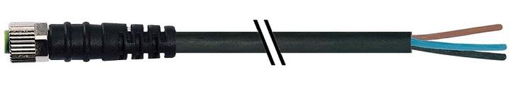 Murr M8 female connector recht met kabel PVC-OB 4x0,25 zwart 10m