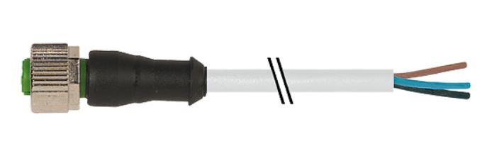 Murr M12 female connector recht met kabel PVC-OB 4x0,34 grijs 10m