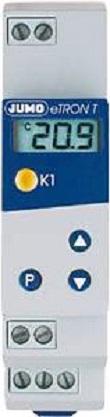 JUMO - digitale thermostaat, toepassing: verwarming- of koelinstallatie, LCD-display, 10A-relais wisselcontact, Din-rail montage.